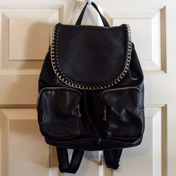 Handbags - (SOLD) Black Pebbled Faux Leather Backpack